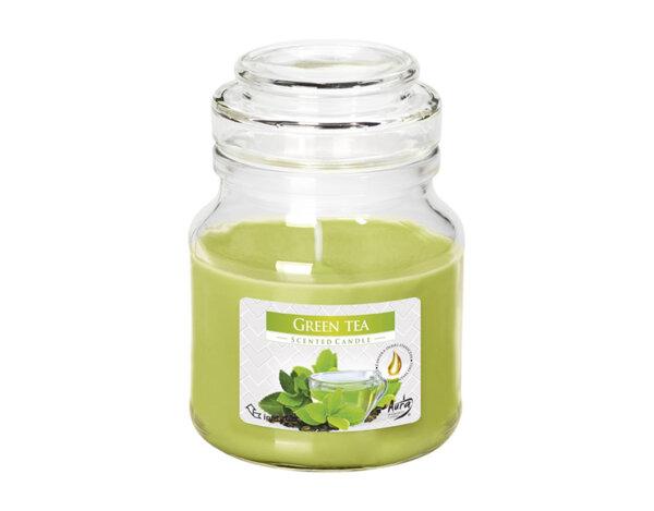 Ароматизирана свещ в бурканче, ø7 x 9.9 cm - зелен чай