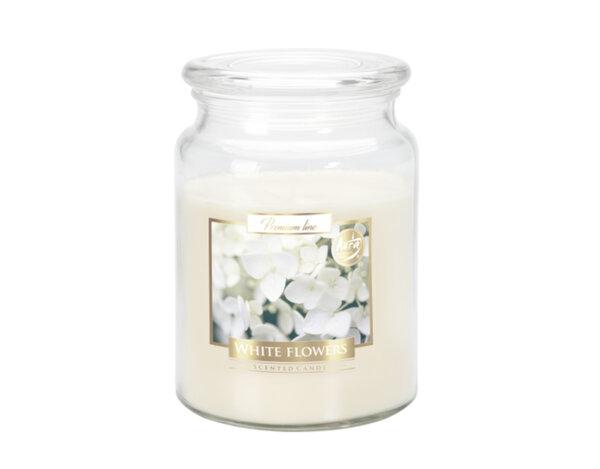 Ароматизирана свещ в бурканче, ø9.9 x 14 cm - бели цветя