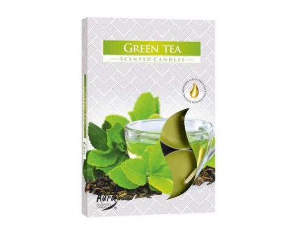Ароматизирани чаени свещи, 6 бр. - зелен чай