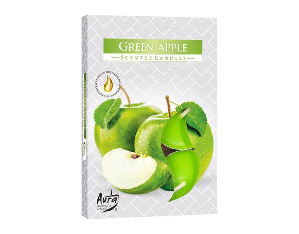 Ароматизирани чаени свещи, 6 бр. - зелена ябълка