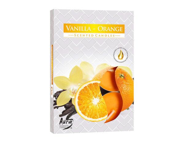 Ароматизирани чаени свещи, 6 бр. - ванилия/портокал