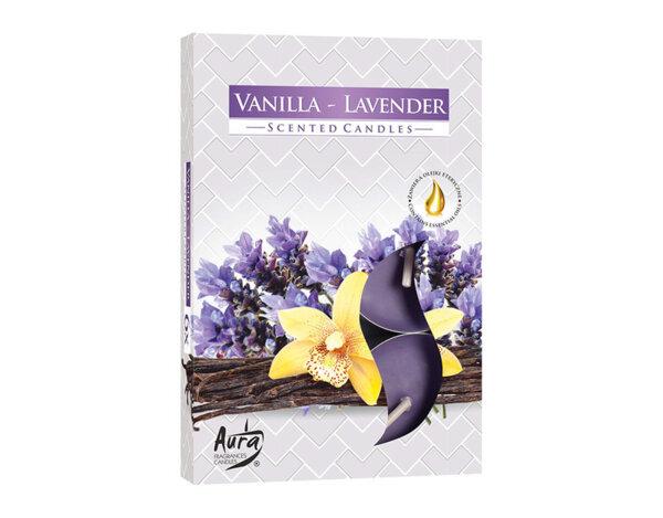 Ароматизирани чаени свещи, 6 бр. - ванилия/лавандула