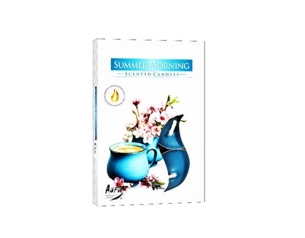 Ароматизирани чаени свещи, 6 бр. - лятно утро