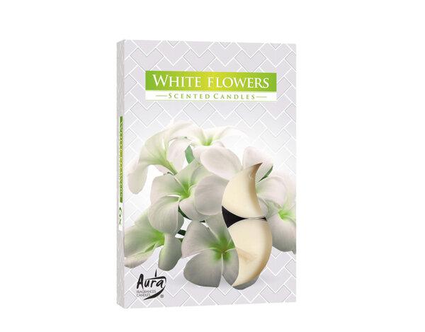 Ароматизирани чаени свещи, 6 бр. - бели цветя