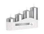 Неароматизирани свещи Pillar, 4 бр. - различни размери, сребристо