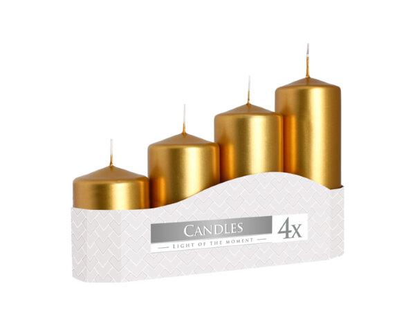 Неароматизирани свещи Pillar, 4 бр. - различни размери, златни