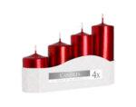 Неароматизирани свещи Pillar, 4 бр. - различни размери, червен металик