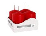Неароматизирани свещи Votive, 4 бр. - ø4 x 6 cm, червени