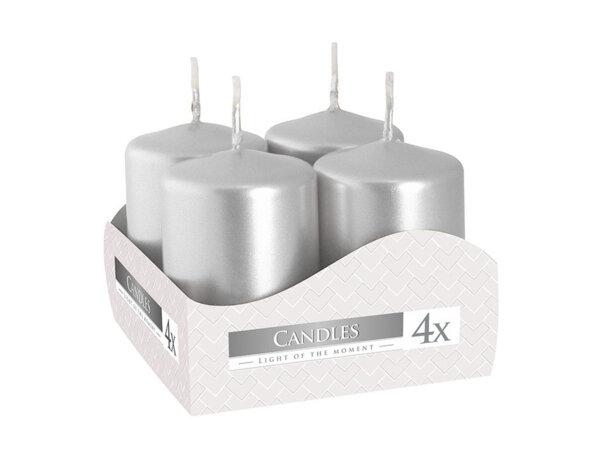 Неароматизирани свещи Votive, 4 бр. - ø4 x 6 cm, сребристи