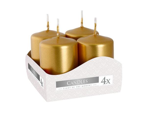 Неароматизирани свещи Votive, 4 бр. - ø4 x 6 cm, златисти