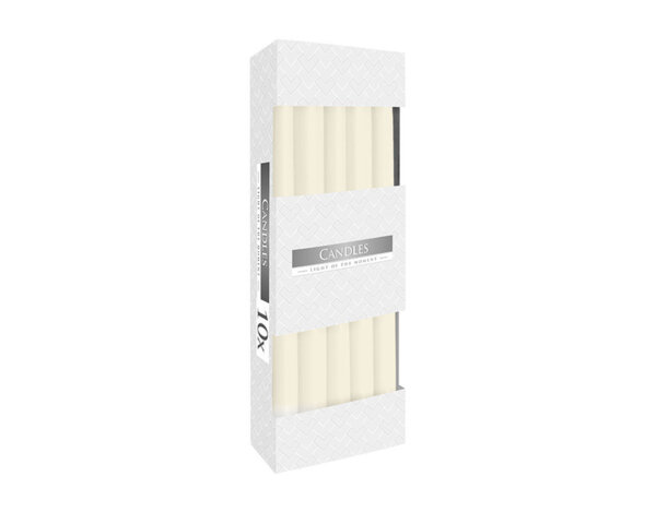 Неароматизирани свещи Taper, 10 бр. - ø2.3 x 24.5 cm, слонова кост