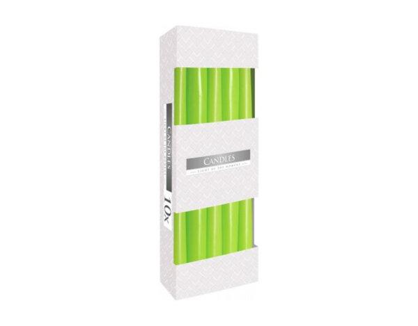 Неароматизирани свещи Taper, 10 бр. - ø2.3 x 24.5 cm, зелени