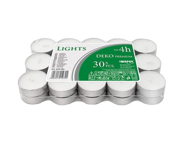 Чаени свещи, 30 бр. - ø3.9 x 1.35 cm, бели