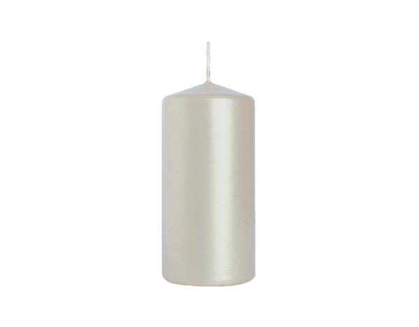Неароматизирана свещ Pillar - ø5 x 10 cm, сребристо