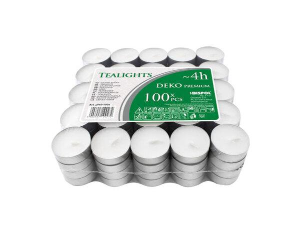 Чаени свещи, 100 бр. - ø3.9 x 1.35 cm, бели