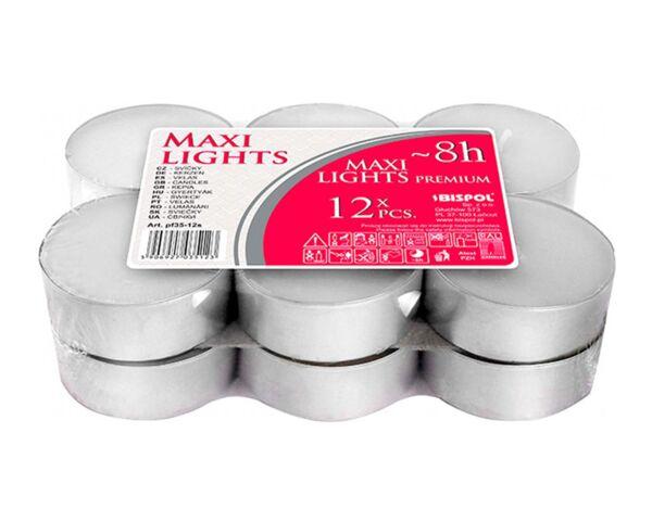 Чаени свещи Maxi, 12 бр. - ø5.7 x 2.2 cm, бели