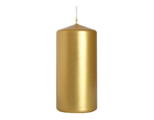 Неароматизирана свещ Pillar - ø5 x 10 cm, златна