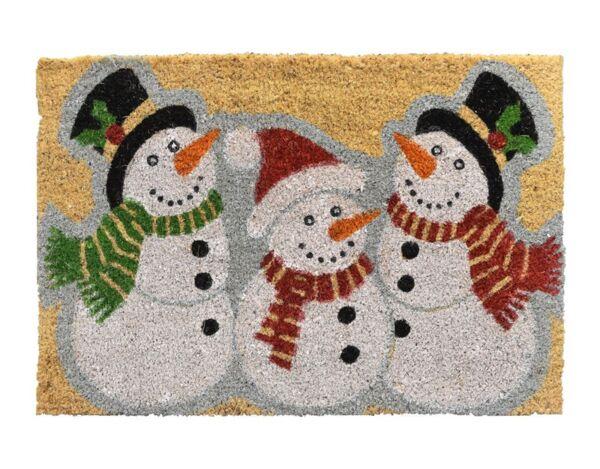 """Изтривалка от кокосови нишки """"Снежни човеци"""" - 40 x 60 cm"""
