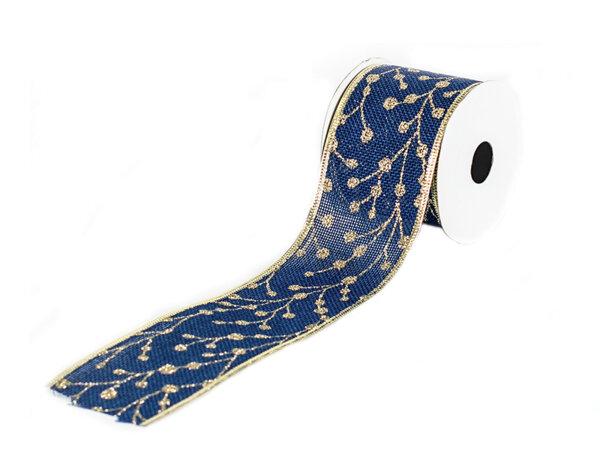 Лента за панделки KY-23027 - 6.3 x 270 cm, синьо със златно