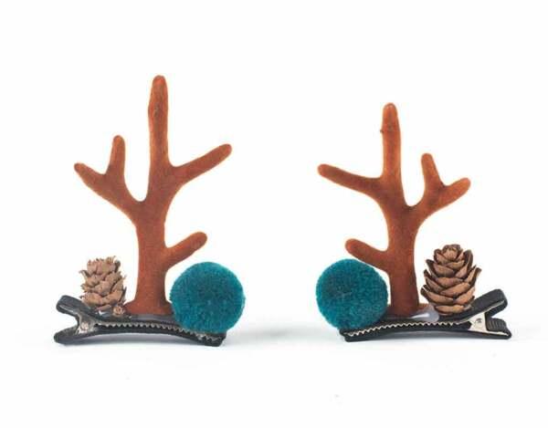 Коледна шнола за коса KY-23254 - 8 x 5 cm, 2 бр.