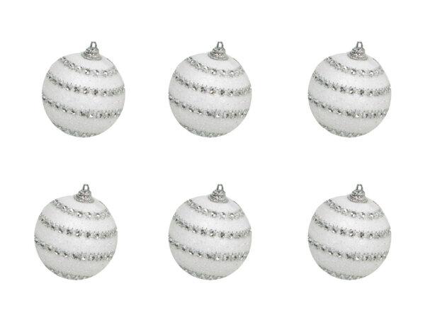 Коледна топка KY-22755, ø5.5 cm - бяла със сребристи кристали, 6 бр.