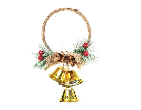 Коледен венец със звънчета KY-23282 - 12 x 17 cm