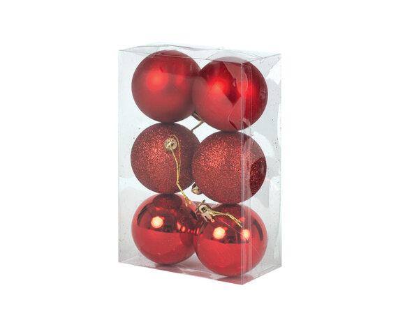 Коледна топка KY-24271, ø5.5 cm - червена, 6 бр.