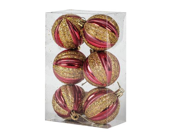 Коледна топка KY-22997, 6 cm - златисто с червено, 6 бр.
