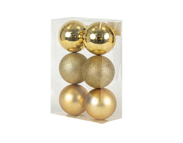 Коледна топка KY-24277, ø9.5 cm - златиста, 6 бр.