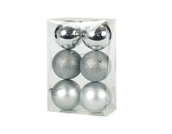Коледна топка KY-24278, ø9.5 cm - сребриста, 6 бр.