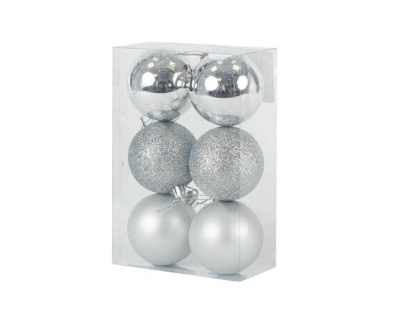 Коледна топка KY-24270, ø5.5 cm - сребриста, 6 бр.