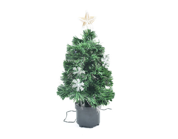 Коледно дърво с фиброоптични LED светлини - 60 cm