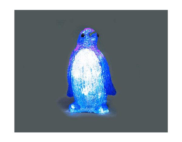 Акрилна коледна фигура с 20 LED лампички - пингвин, 20 cm