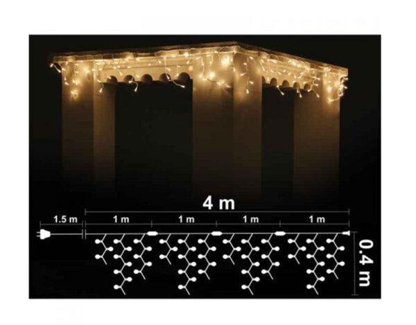 Висулка, топло бели светлини и черен кабел - 4 х 0.40 m, 120 LED лампички