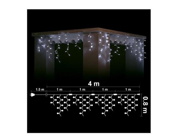 Висулка, бели светлини и бял кабел - 4 x 0.80 m, 152 LED лампички