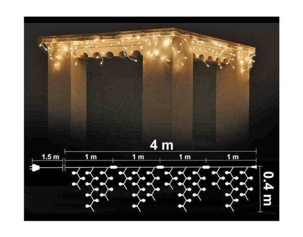 Висулка, топло бели светлини и бял кабел - 4 х 0.40 m, 120 LED лампички
