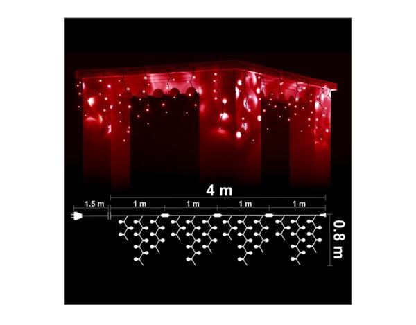 Висулка, червени светлини и черен кабел - 4 x 0.80 m, 152 LED лампички