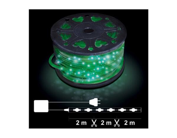 Светещ маркуч, 2 линии - 24 зелени LED лампички на метър