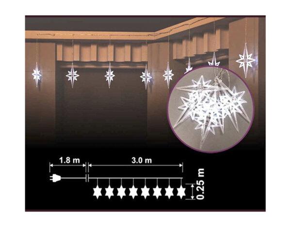 Коледни висулки падащи звезди, 8 бр. - 64 бели LED лампички