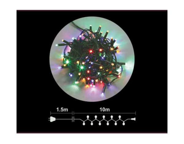 Гирлянд от 100 LED лампички - разноцветни светлини, 10 m