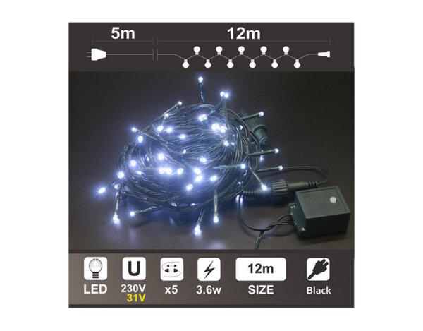 Светещ гирлянд, бял, 12 m - 120 LED лампички