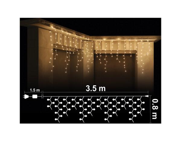 Висулка, топло бели светлини и прозрачен кабел - 3.5 x 0.8 m, 200 LED лампички