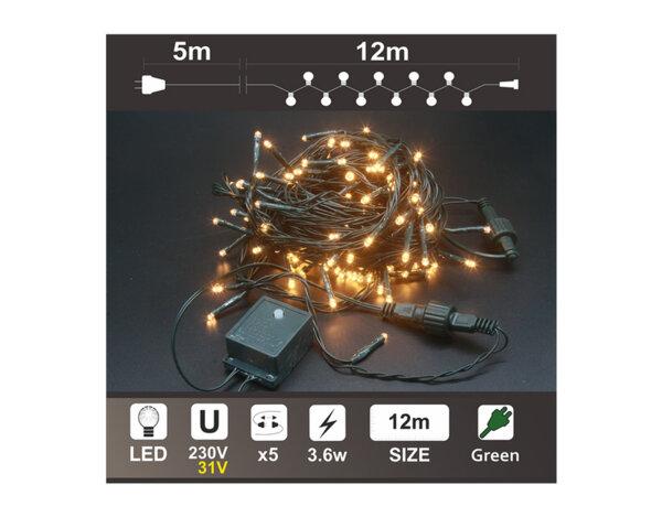Светещ гирлянд K2, топло бяло, 12 m - 120 LED лампички