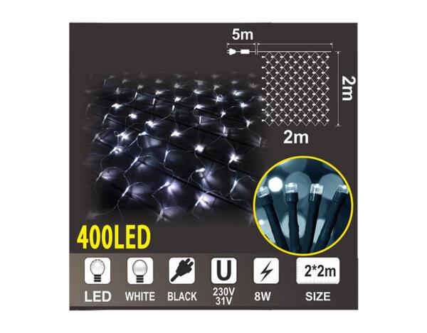 Мрежа с 360 топло бели LED лампички - 2 x 2 m