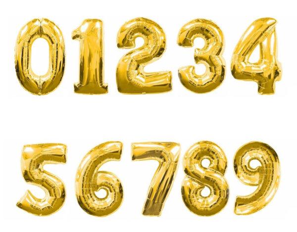 Фолиева цифра/балон, 80 cm - златна, от 0 до 9