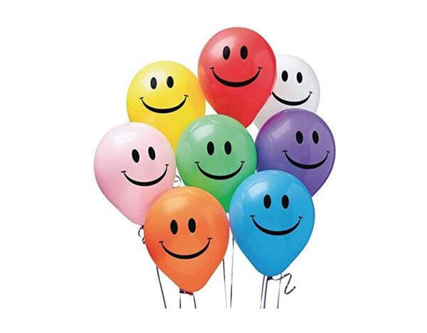 Балони с печат усмивка - микс цветове, 10 бр.