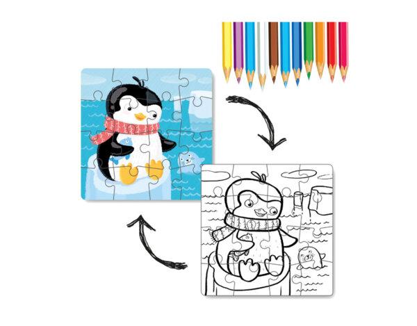 Пъзел за оцветяване, 2 в 1 - пингвинче, 16 елемента