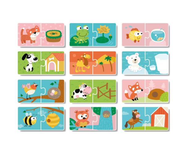 """Логически пъзел """"Къде живеят животните"""" - 12 илюстрации"""