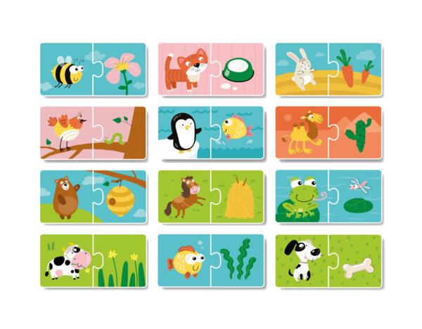 """Логически пъзел """"С какво се хранят животните"""" - 12 илюстрации"""