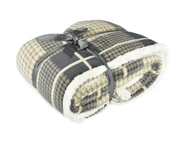 Одеяло Sherpa Micro Fleece - 220 x 240 cm, сиво с бежово